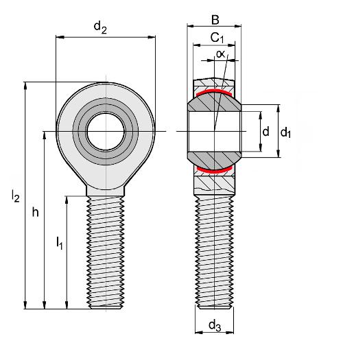 1 Gelenkkopf M 8 Außengewinde links DIN ISO 12240-4 E wartungsfrei